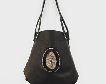 Leather Handbag, Black Leather Handbag, Agate and Leather Handbag