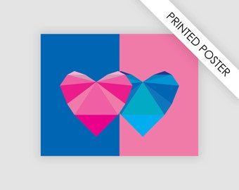 Love print poster, home decor, hearts poster, artwork print love, heart illustration, poster, wall, home decoration, trend colors 2016