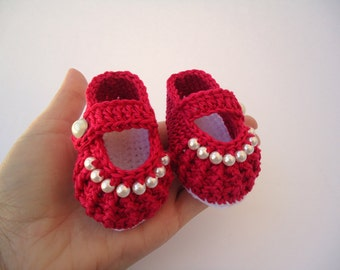 Baby girl red shoes, Crochet shoes, Custom baby shoes, fashion baby shoes, baby accessories
