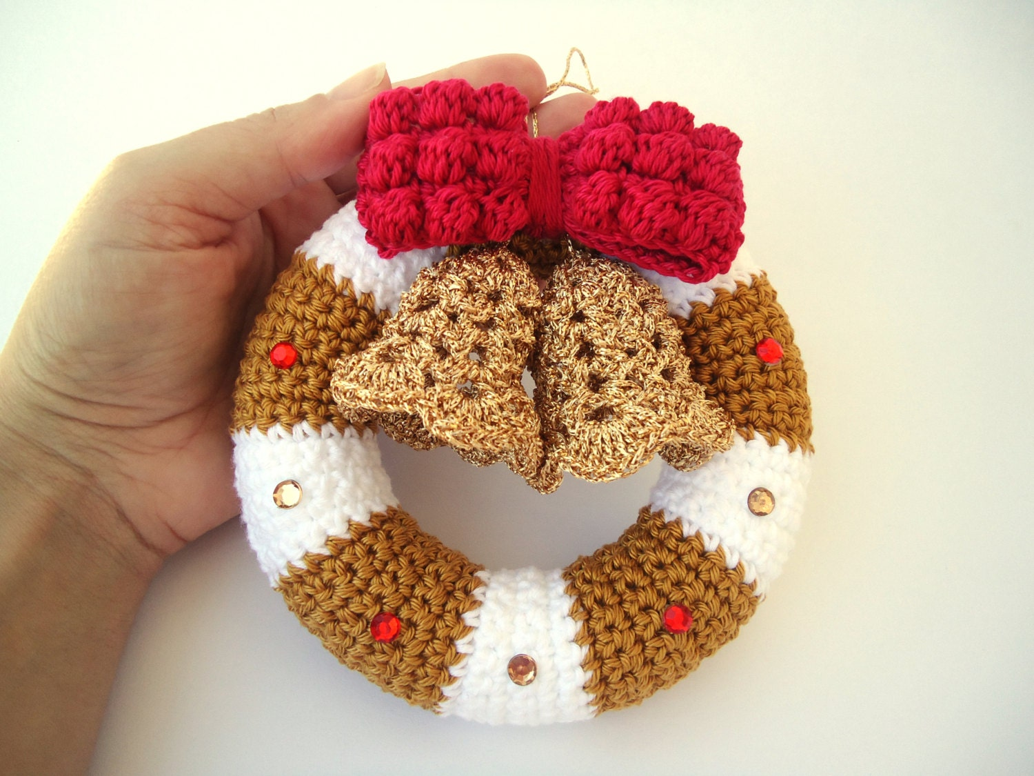 Christmas Wreath In Crochet Door Hanger Decoration Christmas