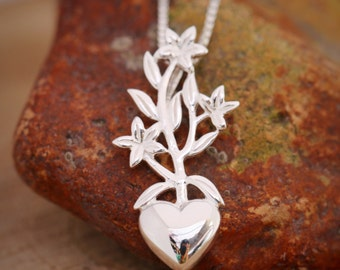Sterling Silver Flower Necklace, Sterling Silver Necklace, Silver Heart Necklace, Sterling Silver Jewellery, Gardeners Gift, Gift for Her