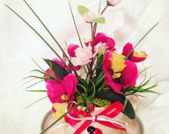Teacup Flower Arrangement, Centerpiece - Spring in a Cup