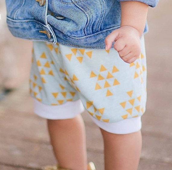Aqua and Mustard Triangle Baby Shorts Unisex Shorts Triangle Toddler Shorts  Baby Leggings Triangle Baby Shorties Cuff Shorts