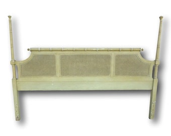 Vintage Authentic Henry Link Bali Hai Faux Bamboo And Cane Poster Headboard For King Bed -- Hollywood Regency, Palm Beach