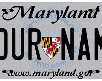 Personalized Custom Maryland Car Vehicle License Plate Auto Tag
