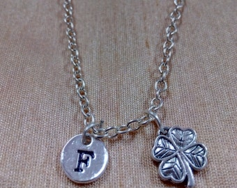 Four leaf clover charm necklace - clover jewelry, lucky clover necklace, lucky charm necklace, silver four leaf clover initial necklace