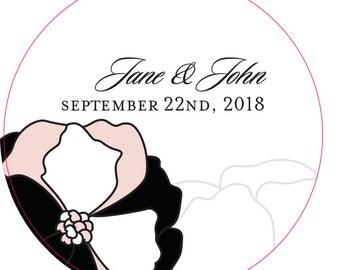 Personalized Wedding Favor Sticker - DIY Wedding - Wedding Favors - Pinwheel Poppy Sticker - Round Sticker - Floral Sticker - Flowers