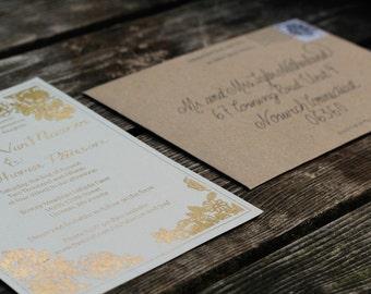 Wedding Invitation // Caligraphy // Gold Foil  // Farm House // Rustic