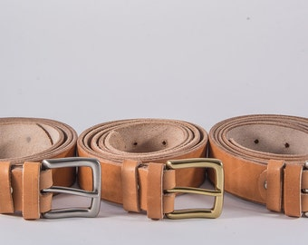 Handmade leather belt (3,5cm) made of full grain vegetable tanned vachetta leather and a solid brass buckle