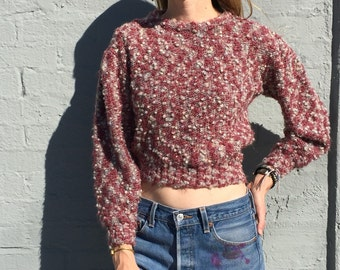 vintage 80s crop top sweater mauve chubby knit