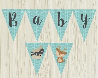 Woodland Baby Banner. Deer, Raccoon, Baby Animal Banner. Instant Digital Download.