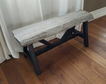 Reclaimed Wood Bench, Rustic Bench, Weathered Bench, Refurbished Bench, Recycled Wood Bench, Grey Wood Bench, Beautiful Bench, Custom Bench