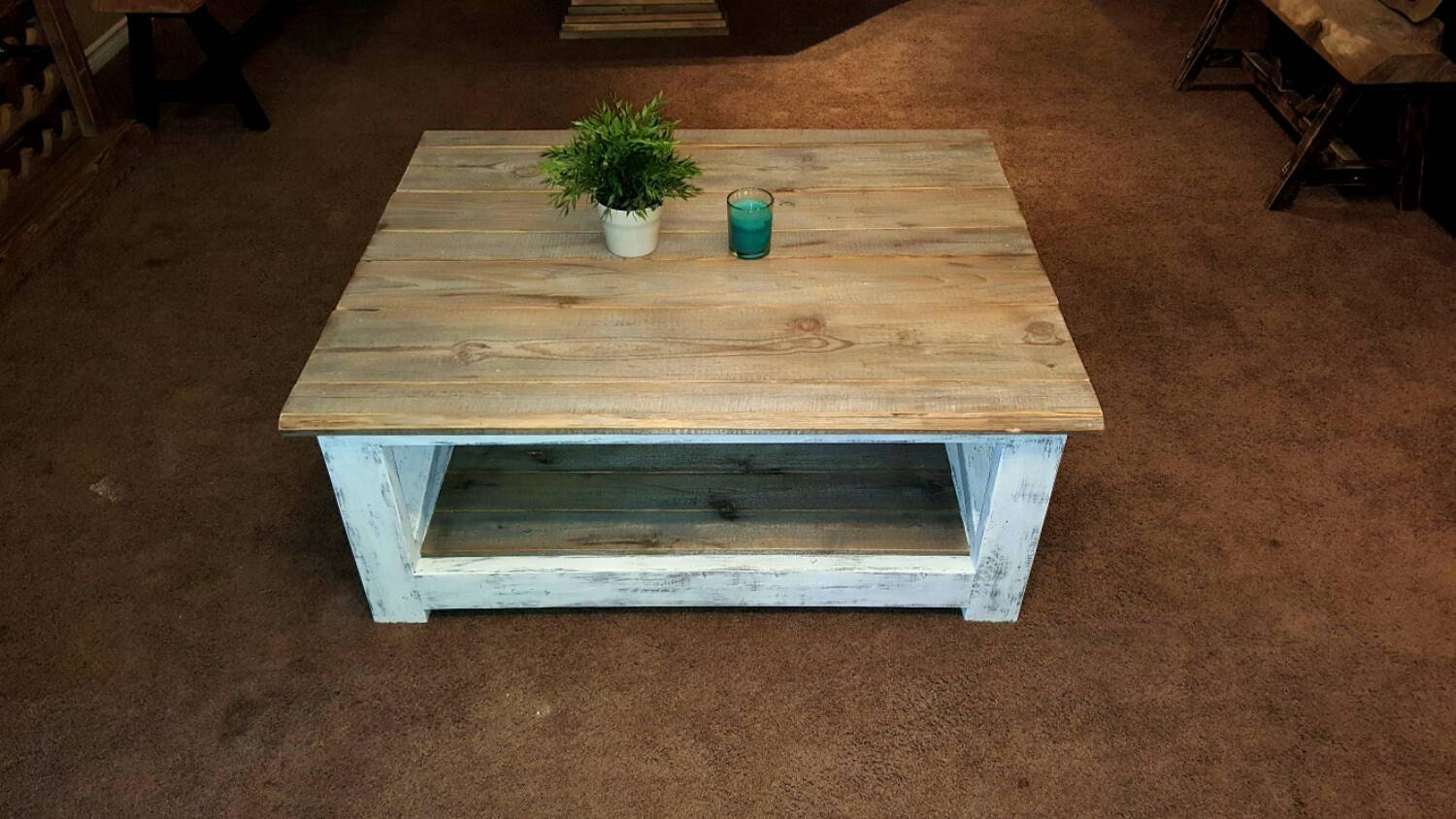 Distressed White Coffee Table Reclaimed Rustic Coffee Table
