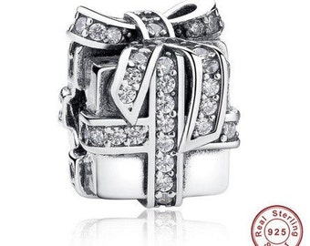 925 Sterling Silver Gift Present Box Charm fit Pandora Bracelet 925 Sterling Silver ,Pandora Charm, First Anniversary Gift for Her, Beads