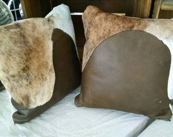 Set of Genuine Leather Pillows with hair on hide