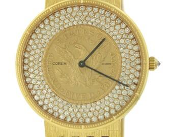 Vintage Corum 5 dollar Gold Liberty Coin Solid 18k Yellow Gold 2.00ctw Diamond Watch