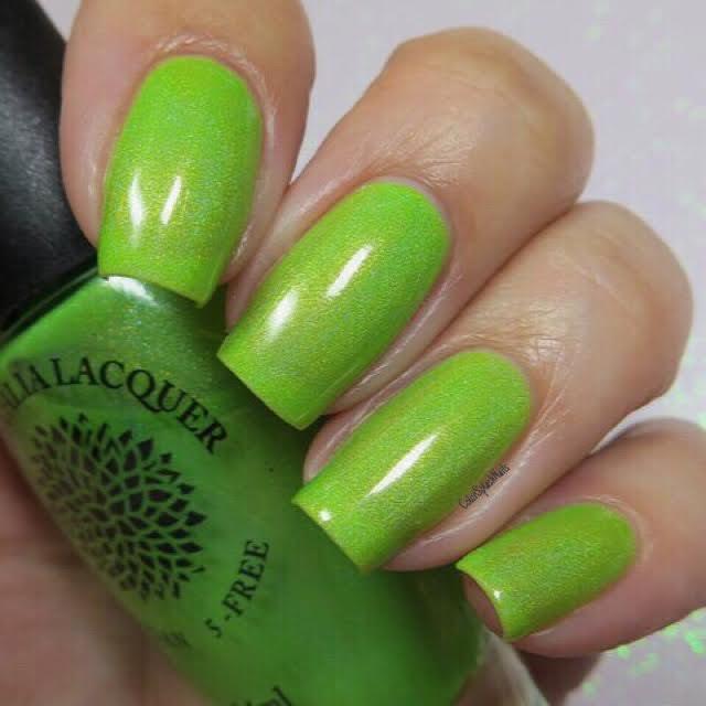 Neon Highlighter Green Jelly Holo Nail Polish Black Dahlia