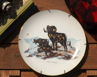 Collector's plate, vintage Clark Bronson wildlife series plate, Big Horn Sheep