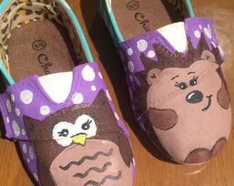 CHILDREN'S Hand-Painted Woodland Creature Shoes