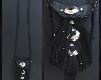 Leather fringe bag. Leather fringe messenger. Witchy woman. Conchos. Witchy bag. Leather cross body bag. Black fringe bag. Motorcycle fringe