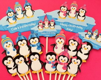 Penguin cupcake toppers, 12 penguin toppers + bonus, penguin toppers, cupcake toppers penguins, penguin party supply, penguin cake topper