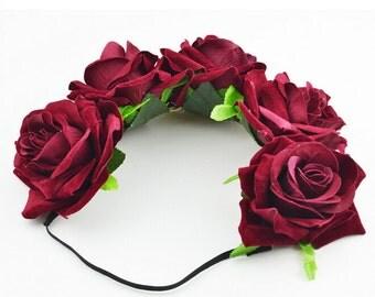 Handmade Women Girls Big Flowers Floral Crown Headband, Boho Flower Hair Wreath Tiara for Music Festivals Party Red and Burgundy