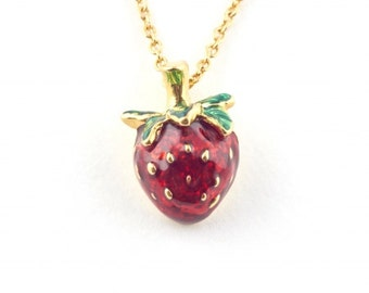 Strawberry Charm Pendant by Bill Skinner Red Enamel Gold Fruits