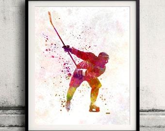 Hockey man player 02 in watercolor - poster watercolor wall art splatter sport illustration print Glicée artistic - SKU 2050