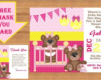 Teddy Bear Baby Shower, Teddy Bear Baby Shower invitations, Teddy Bear Invitations, Baby Shower, Baby Shower Invitations, #Teddy Bear 0006