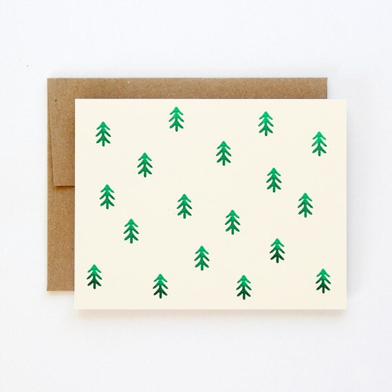 Green Foil Pine Trees Christmas Card