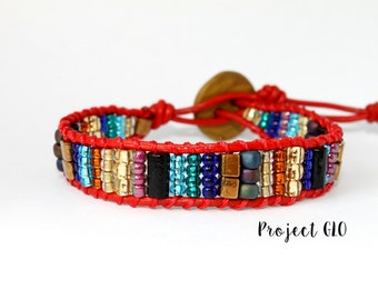 Handmade Leather Red Wrap Bracelet Wristband red leather wrist wrap Polymer Clay Beads