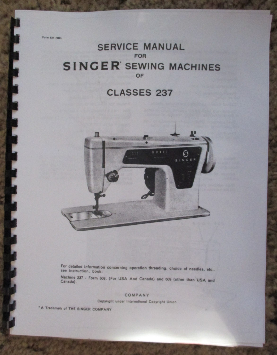 singer 237 sewing machine service repair adjusters manual book. Black Bedroom Furniture Sets. Home Design Ideas
