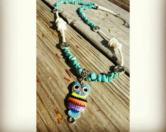 Whooo Whooo loves owls necklace