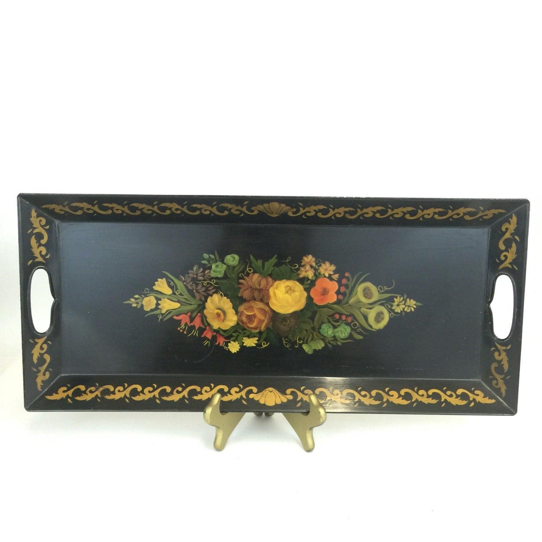 Vintage Metal Tray Tole Painted Black Enamel Tray Floral