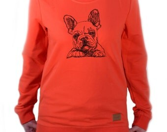 Women long sleeve, blouse with dog - French Bulldog puppy NEW Collection!