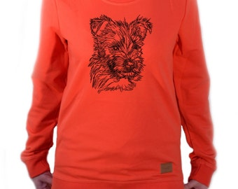 Women long sleeve, blouse with dog - Cairn Terrier puppy NEW Collection!
