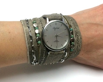 Women Watch with Charms and Turquoise Beads-Women Watches-Wrap Watch-Wrap Bracelet Watch-Womens Watches-Wrap Watches-Leather Wrap Watch