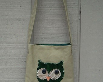 Owl Head #2 Small Tote Fabric Art