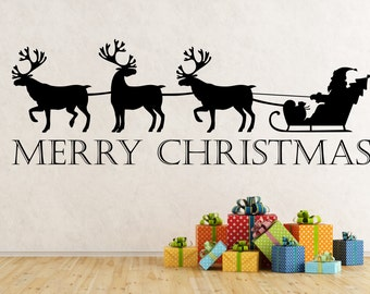 Merry Christmas Reindeer and Sleigh self adhesive vinyl decal sticker for walls, windows, mirrors, doors, shop fronts and more.(#58)