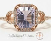 Glowing Pink Amethyst Rose Gold Diamond Halo Pink Gold Engagement Ring Statement Band Radiant Cut Promise Cathedral Setting Right Hand Ring