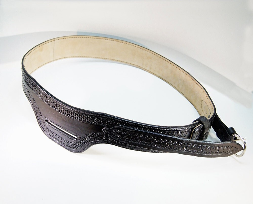 leather gun belt handmade genuine leather black