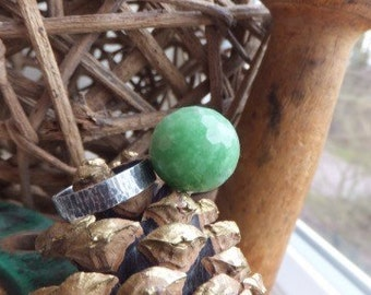 Handmade sterling silver ring with lampwork bead