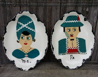 Pair of Ma and Pa decorated plates
