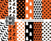Halloween Digital Paper: with Black Cat, Bat, Witch Hat, Ghost, and Jack O Lantern Patterns for Party Invitations and Decorations