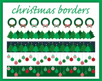 "Christmas Clipart: ""CHRISTMAS CARD BORDERS""  with Xmas Trees, Wreathes, and Ornaments, Clip Art for Holiday Letters and Letterhead"