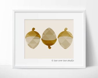 "Fall Printable Art: ""GEOMETRIC ACORNS PRINT"" in Shades of Brown for Autumn"