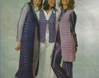 PDF Crochet Pattern Female Long and Midi Vest, Cap, 8Ply, Sz 32 and 36""