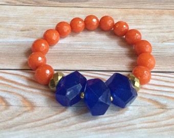 stretch bracelet   gameday jewelry   florida gators   UF   orange and blue
