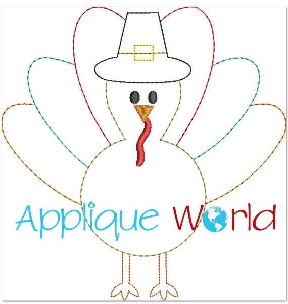 Applique Pilgrim Turkey Embroidery Design
