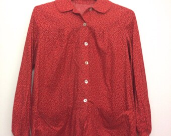 Vintage Calico Red Blouse with Peter Pan Collar size S/M 1970s